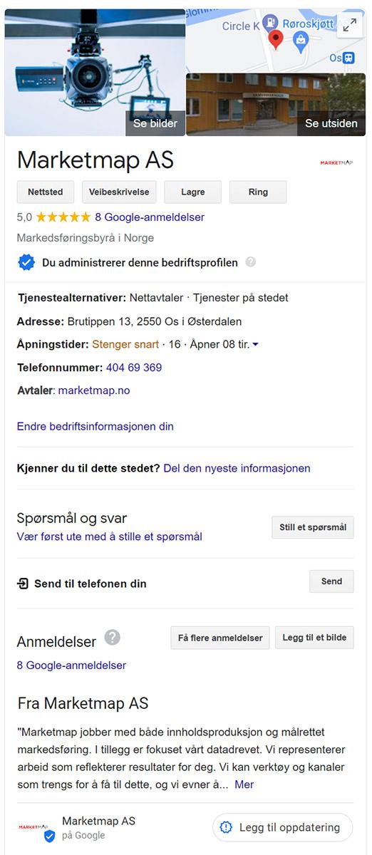 Google Min Bedrift Marketmap